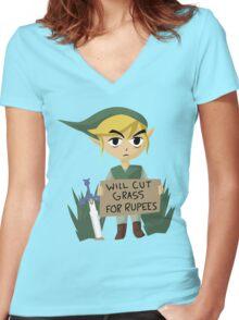 Legend of Zelda - Link - Cut Grass for Rupees Women's Fitted V-Neck T-Shirt