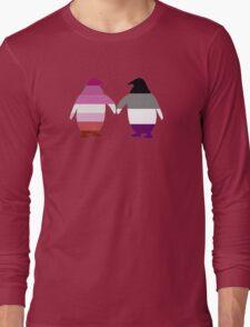 Lesbian Ace Pride Penguins Long Sleeve T-Shirt