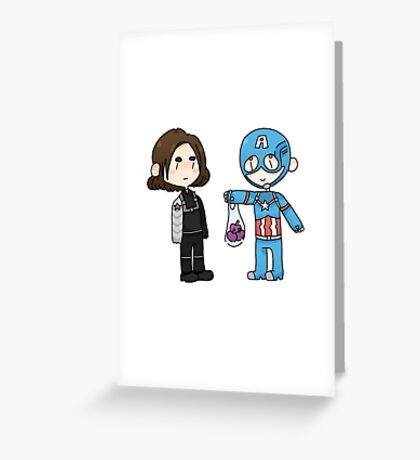 Bucky And Captain America Greeting Card