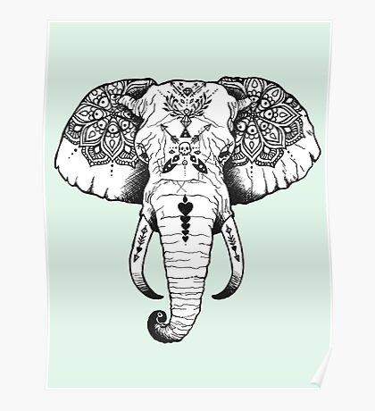 Elephant Tattooed Poster