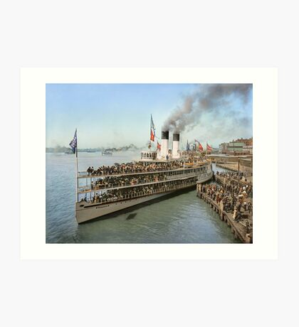 Sidewheeler Tashmoo leaving wharf in Detroit, ca 1901 Colorized Art Print