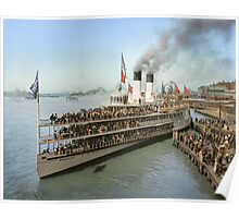Sidewheeler Tashmoo leaving wharf in Detroit, ca 1901 Colorized Poster