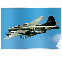 P-63A Kingcobra with B-17G Fortress II Poster