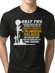 Jesus Christ & The American Soldier Tri-blend T-Shirt