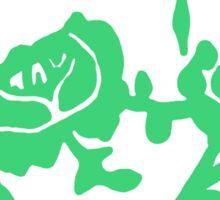 Green Rose White Teacup Printmaking Art Sticker