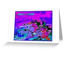 TOUR DE FRANCE; Abstract Bike Racing Print Greeting Card