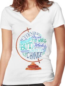 Typography Vintage Globe - Everyone wants to change the world Women's Fitted V-Neck T-Shirt