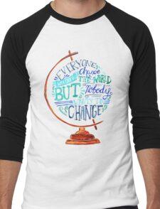 Typography Vintage Globe - Everyone wants to change the world Men's Baseball ¾ T-Shirt