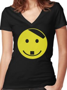 SMILEY FACE8756t667 Women's Fitted V-Neck T-Shirt
