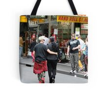Saturday morning shoppers in Melbourne Tote Bag