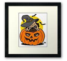 Funny Halloween cartoon pug Framed Print