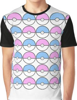 Kawaii Pokeball Pattern Graphic T-Shirt