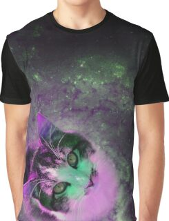 Cat in the center of Space Graphic T-Shirt