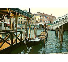 Gondola by the Rialto Bridge Photographic Print
