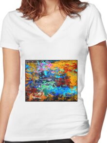 BICYCLES ABSTRACT; Whimsical Print Women's Fitted V-Neck T-Shirt