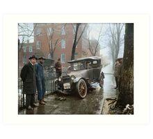 Auto Wreck in Washington DC, 1921. Colorized Art Print