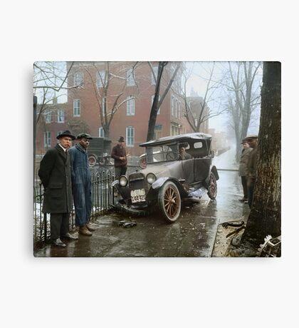 Auto Wreck in Washington DC, 1921. Colorized Canvas Print