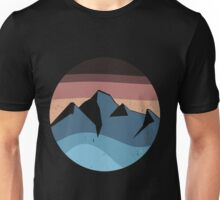 blue mountain orange sunset logo vintage Unisex T-Shirt