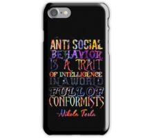 Watercolor-Anti Social Behavior, Nikola Tesla Quote iPhone Case/Skin
