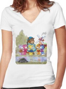 Boomi Cats Women's Fitted V-Neck T-Shirt