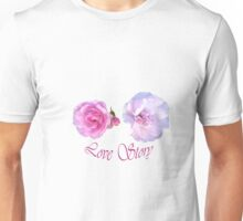 pretty pink rose flowers photo art. Love story design line.  Unisex T-Shirt