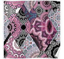 The national pattern in the patchwork . Purple soft grey and blue colours.  Poster