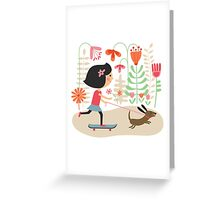Girl on skateboard with her dog Greeting Card