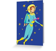 Space Girl Meets the Green Octopus Monster Greeting Card