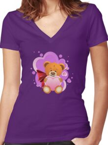 Teddy Bear with Heart 2 Women's Fitted V-Neck T-Shirt