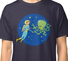 Space Girl Meets the Green Octopus Monster Classic T-Shirt
