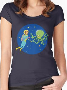 Space Girl Meets the Green Octopus Monster Women's Fitted Scoop T-Shirt