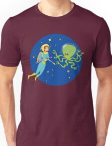 Space Girl Meets the Green Octopus Monster Unisex T-Shirt
