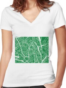 Ghent Map - Green Women's Fitted V-Neck T-Shirt