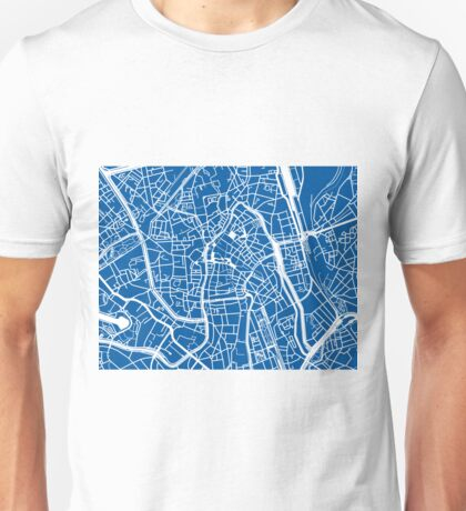 Ghent Map - Blue Unisex T-Shirt