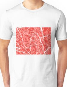 Ghent Map - Red Unisex T-Shirt