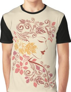 Autumn Girl with Floral 7 Graphic T-Shirt