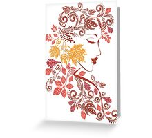 Autumn Girl with Floral 7 Greeting Card