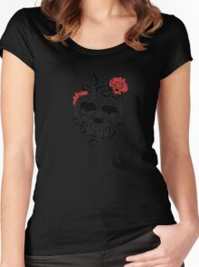 T-Shirt Design Skull and Rose Women's Fitted Scoop T-Shirt