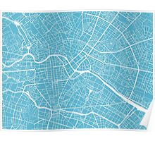Berlin Map - Baby Blue Poster