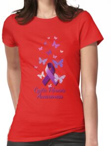 Purple Awareness Ribbon: Cystic Fibrosis  Womens Fitted T-Shirt