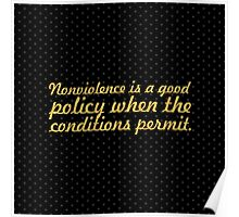 """Nonviolence is a... """"Nelson Mandela"""" Inspirational Quote (Square) Poster"""