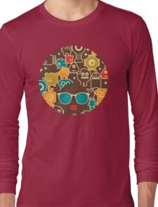 Robots on brown Long Sleeve T-Shirt