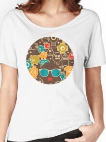 Robots on brown Women's Relaxed Fit T-Shirt