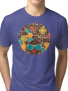 Robots on brown Tri-blend T-Shirt