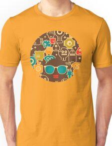 Robots on brown Unisex T-Shirt
