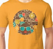 Robots on brown Unisex T-Shirt