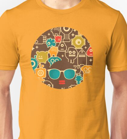 Robots on brown T-Shirt
