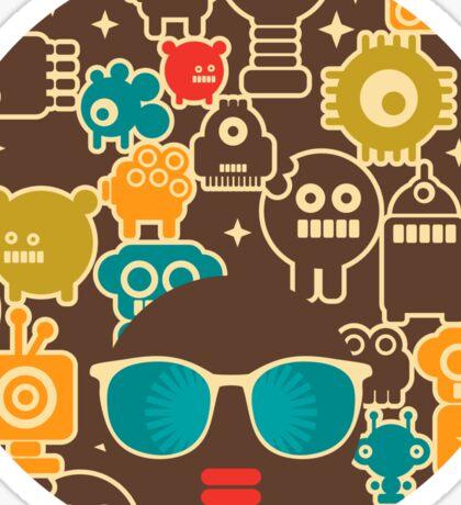 Robots on brown Sticker