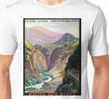 Route des Alpes, French Travel Poster Unisex T-Shirt