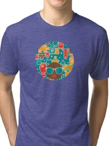 Robots on blue Tri-blend T-Shirt